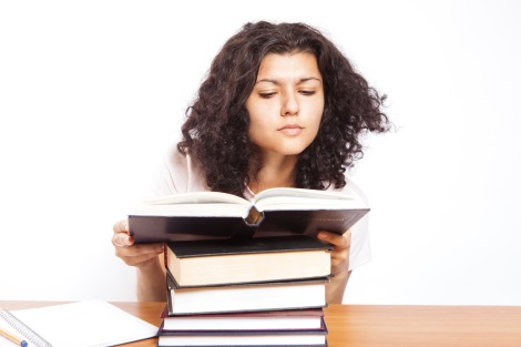 Many books and student